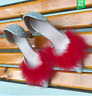 Womens Gladiator Sexy Vintage Pumps Spring Summer Fur Slip On Party Prom Shoes
