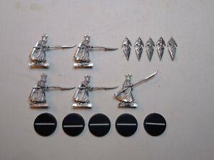 Warhammer LOTR- 5x Haldir's Elves with Spear and Shield (A). Metal. OOP