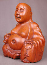 """Wooden Buddha Statue, Hand Carved-8.8"""" tall-Sitting Smiling-Religious-Peace Man."""