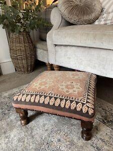 Vintage Boho Ethnic Small Square Wood Footstool