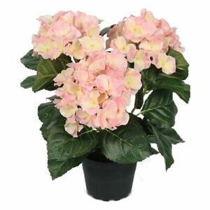 Potted Pink Faux Silk Hydrangea, Realistic Artificial Hortensia Flower in Pot