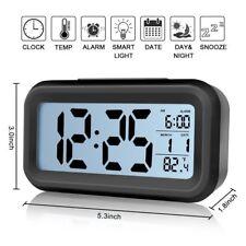 Digital Alarm Clock Large LCD Screen Low Light Month Date & Temperature Display
