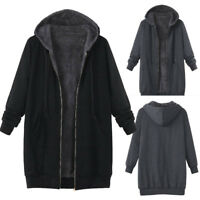 Plus Size Womens Winter Warm Outwear Solid Hooded Pockets Vintage Coats P