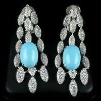 Estate 2.2Ct Turquoise & Diamond Drop Dangle Earrings in 18k White Gold Over RAR