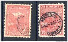 TASMANIA, 1905 1d rose-red+1d carmine(P12½,SG250+250g W.Crown over A) FU (D)