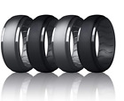 4-Pack Dookeh Breathable Mens Silicone Wedding Rings, Rubber Ring Bands for Men