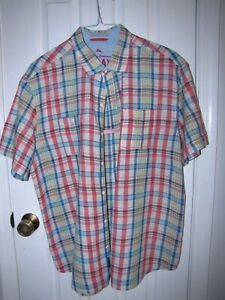 TOMMY BAHAMA + Hawaiian Shirt Men's XL + LINEN + CHECKED PINK... Short Sleeve