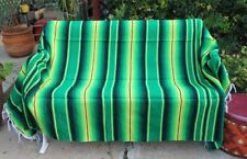 Green Sarape Serape Mexican Blanket Saltillo Southwestern 5' x 7' Yoga Throw
