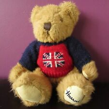 """HARRODS SOFT TOY CUDDLE BEAR WITH UNION JACK JUMPER APPROX 10"""""""