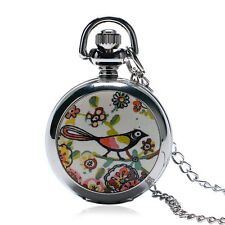 Vintage Enamel Magpie Mini Necklace Pocket Watch Retro Women Girls Xmas Gift