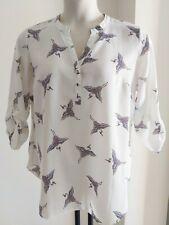 Ladies BLOUSE size 16 SHIRT white ivory BIRD print SWALLOW - FREE POST