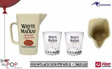 Whyte & Mackay Scotch Whisky Vintage Water Jug 1961 Seaton Pottery + 2 Glasses