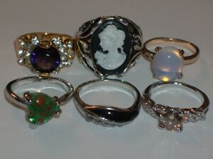 6 Pc Rhinestone/Stone Variety Ring Lot- Sizes 6, 6 1/2 & 7 (Cameo Ring)
