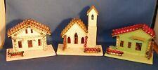 Set of 3 Vintage Putz Christmas Church House Mercury Glass Bead Roof Made Japan