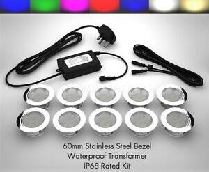 10 x 60mm LED Lights Deck/Decking/Plinth/Kickboard/Recessed/Kitchen - 7 Colours