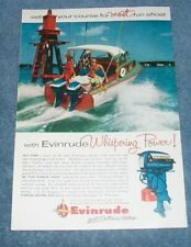 """1956 Evinrude Outboard Motors Vintage Color Ad """"Whispering Power!"""""""