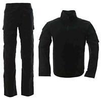 LANBAOSI Men's Tactical Combat Shirt and Pants Set Long, Black, Size Large 7Gr7