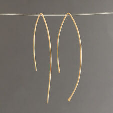 Hammered Wire Wishbone Threader Earrings Gold Fill, Rose Gold Fill or Silver