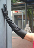 women new real sheep leather long evening gloves black