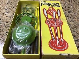 Vtg 6 Set Fondue Stainless Forks Wood Handle Metal,Stand Holder NIB Japan Retro