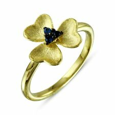 FLOWER RING  W/ LAB SAPPHIRE /SZ 5 - 9/ 14K YELLOW GOLD OVER 925 STERLING SILVER