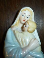 "Mother Baby Statue Porcelain 8 1/2"" Valencia Jesus Hand Painted Sign 1984 Roman"