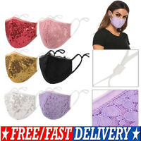USA Fashion Face Mask Sequin Glitter Bling Cover Nose Mouth Washable Reusable