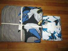 New Pottery Barn Kids Batman Quilt comforter Twin with Set Of Twin Sheets Nice