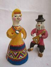 Russian Clay Pair Dolls Kargopol Toy 1986 Boy Girl balalaika Каргпольсая игрушка