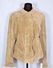 Margaret Godfrey Light Brown Suede Jacket Shirt Ruffle Womens 12
