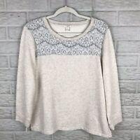 J. Crew Womens Sweater Medium Floral Lace Bodice Heather Beige Pullover E0101