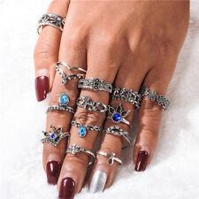 13 piezas Juego de Anillo Flor De Plata Bohemia De colección pulgar apilable Midi Azul Piedra
