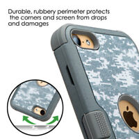 Apple iPod Touch 5th 6th Gen Hybrid ShockProof Hard Rugged Case Cover CAMO +Hook