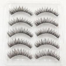 5 Pairs Handmade False Eyelashes Beauty Makeup Cross Black Soft Fake Eye Lash