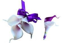 2pc Set - Pin Corsage and Boutonniere: Purple and White Calla Lily (BCset-03)