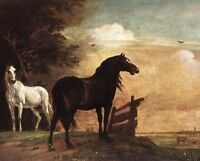Oil painting Paulus Potter - Horses In A Field hand painted in oil on canvas