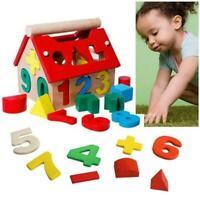 Baby Wooden Building Blocks Montessori Educational House Digital toys Y8L0