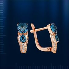 London Blue Topaz Earrings Russian Solid Rose Gold 585 /14ct Very