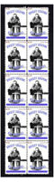 RAY WORTERS NEW YORK AMERICANS ICE HOCKEY LEGENDS MINT STRIP OF 10 STAMPS
