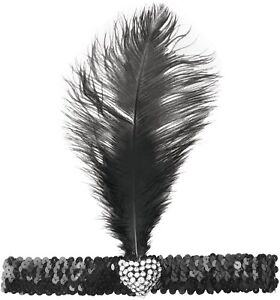 Flapper Lady Headband Crystal Heart Feather Charleston Headdress Gatsby 20s 30s