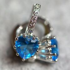 Silver Plated And Lake Blue Heart Cubic Zirconia Hoop Earrings
