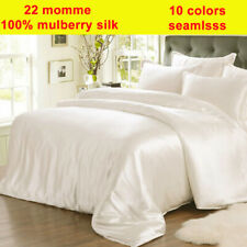 4pc 22mm 100% Pure Silk Fitted/Bottom & Flat/Top Sheet Pillow Cases Set Seamless