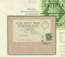 BOIC ERITREA British Admin *OFFICIAL PRECANCEL* 9d GB Overprint 1950 Cover Ap173