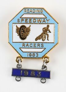 vintage Reading Speedway Racers 1983 enamel pin badge and bar, unnamed