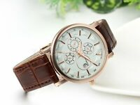 Casual Calendar Dial Brown Leather Band Quartz Analog Wrist Watch Men's Women's