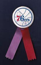 Philadelphia 76er's vintage basketball pinback button with ribbons