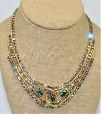 "Signed ALICE CAVINESS Goldtone Aurora Borelis Green Rhinestones 17"" Necklace"