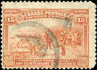 Used Canada 1908 15c F Scott #102 Quebec Tercentenary Issue Stamp