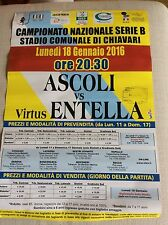 LOCANDINA STADIO CALCIO SERIE B 2015/16 VIRTUS ENTELLA - DEL DUCA  ASCOLI