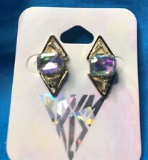 Claire's Katy Perry Gold Double Triangle Prism Large Rhinestone Stud Earrings